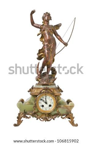 Vintage antique clock, isolated on white - stock photo