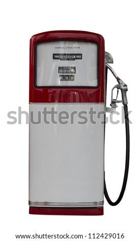 Vintage antique Gasoline fuel pump ,clipping path - stock photo