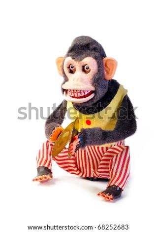 Vintage antique monkey isolated on white background - stock photo