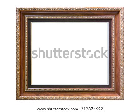 vintage antique wooden frame isolated on white background - stock photo