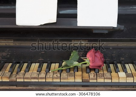 Vintage antique wooden piano keyboard - stock photo