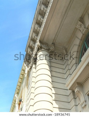 vintage architecture detail of ionic column - stock photo