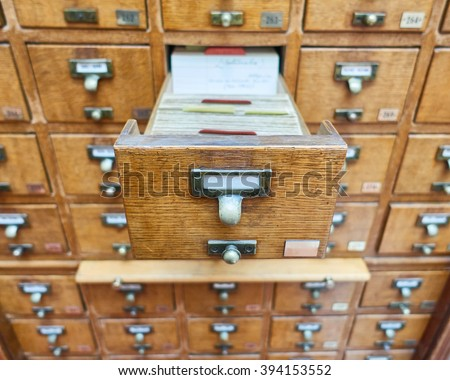 vintage archive wooden drawers closeup - stock photo