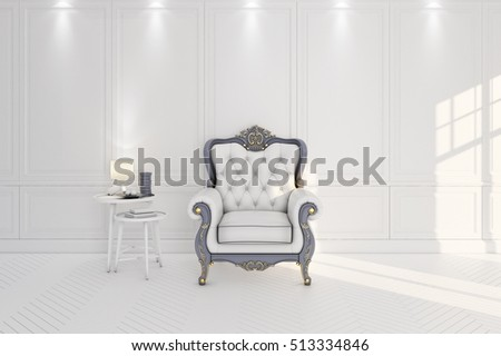 vintage arm chair interior with lamp and table 3D illustration