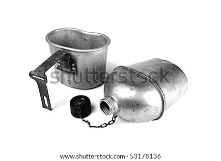 Vintage army canteen and cup isolated on white - stock photo