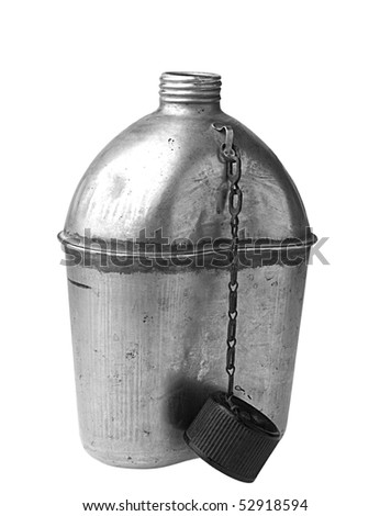 Vintage Army Canteen isolated on white - stock photo