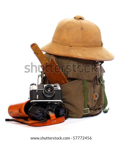 Vintage articles for travel to tropical destination. - stock photo