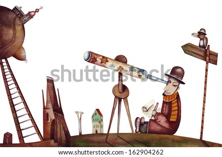 Vintage astronomer - stock photo