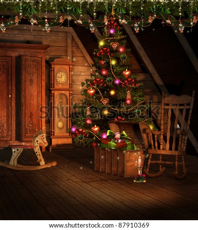 Vintage attic with Christmas decorations