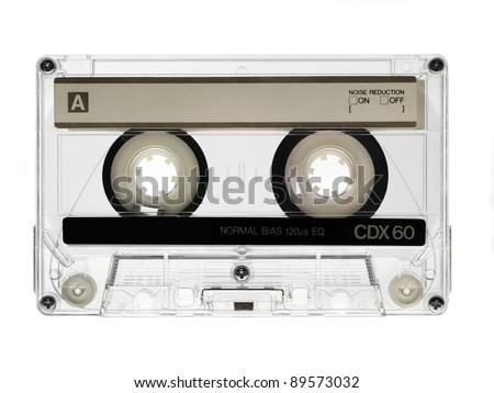 vintage audio cassette isolated on white - stock photo