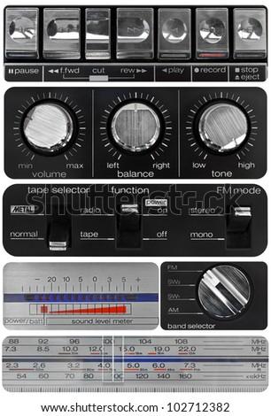 Vintage audio knobs set, amplifier, cassette deck, radio scale, volume meter - stock photo