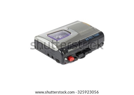 Vintage audio recorder (analog dictaphone) with cassettes. On white background. - stock photo