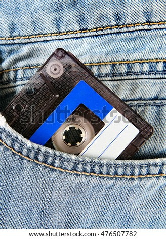 Vintage Audio Tape Cassette in the Jeans Pocket closeup
