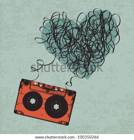 Vintage audiocassette illustration with heart shaped messy tape, raster version.