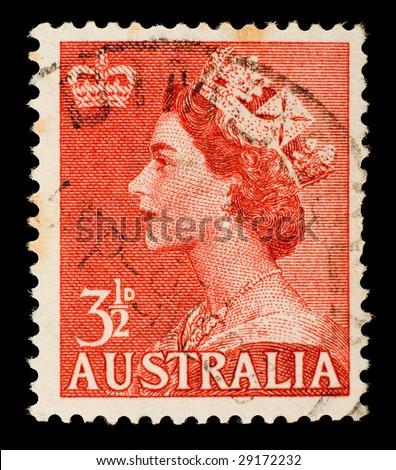 Vintage Australian postage stamp - stock photo