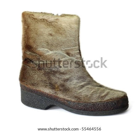 Vintage Austrian Boots of reindeer fur with crepe sole. Isolated on white.