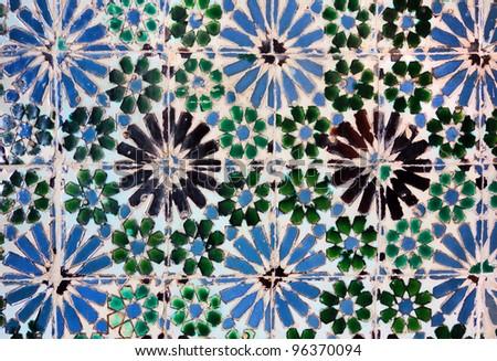 Vintage azulejos (ancient tiles) from Palacio da Vila de Sintra, Pertugal - stock photo