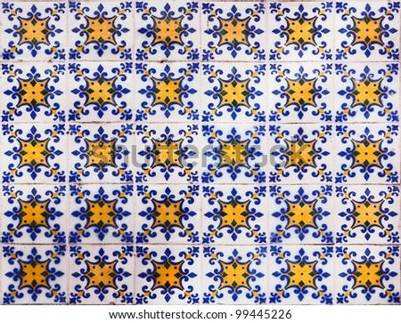 Vintage azulejos (ancient tiles) - Lisbon, Portugal - stock photo