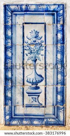 Vintage azulejos (ancient tiles), Pertugal - stock photo