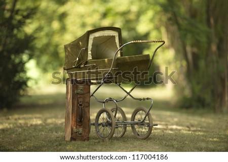 vintage baby pram - stock photo