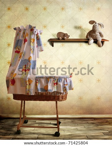 Vintage babys room with cradle for boy or girl - stock photo