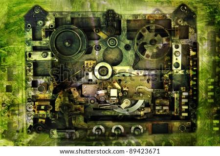 Vintage background-analog recorder - stock photo