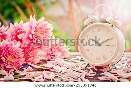 Vintage background.flowers with retro alarm clock on wooden table. black and white  - stock photo