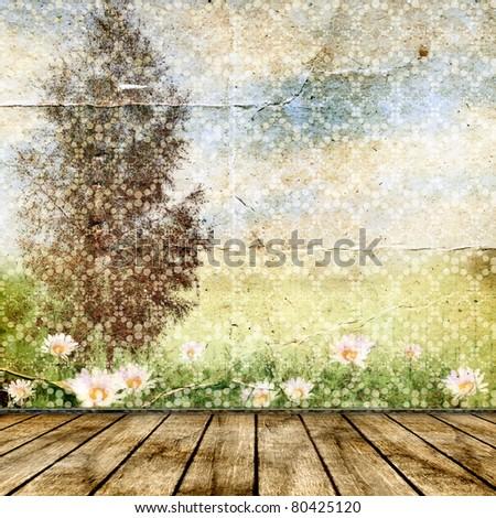 Vintage background for design. Summer landscape. - stock photo