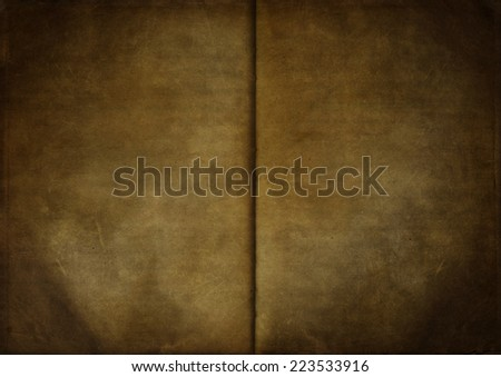 Vintage background from an old open empty notebook, used paper texture - stock photo