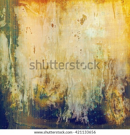 Vintage background in scrap-booking style, faded grunge texture with different color patterns: yellow (beige); brown; red (orange); green; gray; blue - stock photo