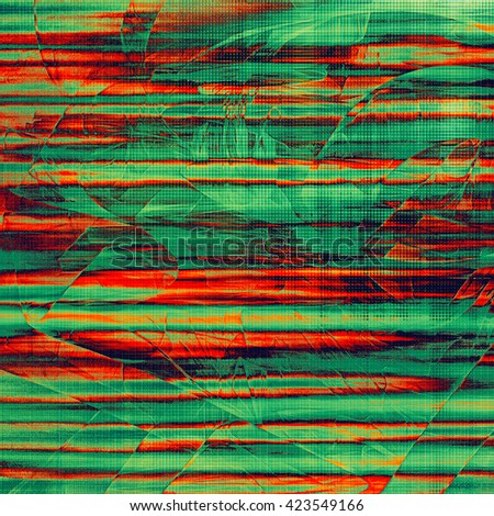 Vintage background in scrap-booking style, faded grunge texture with different color patterns: yellow (beige); green; red (orange); cyan - stock photo