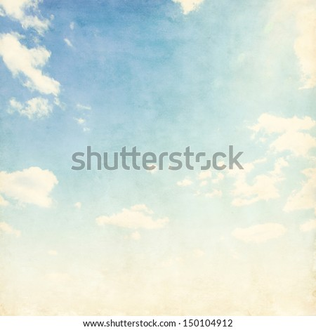 Vintage background of blue cloudy sky. - stock photo