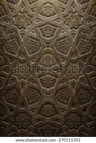 Vintage Background of Decorative Islamic Wood Art - stock photo