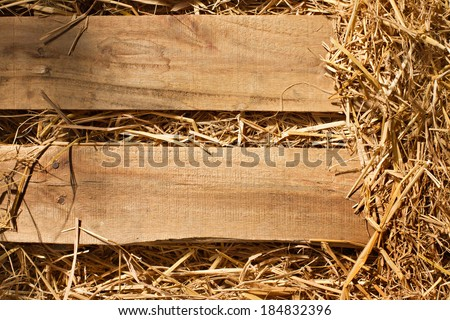 vintage background of wood plank and dry grass, hay, straw textured border with blank space for text or copyspace - stock photo