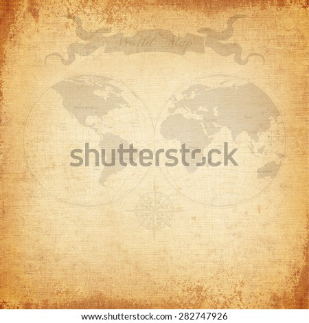 Vintage background, old world map with canvas texture - stock photo
