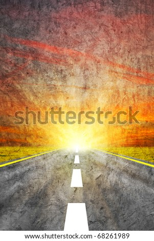 Vintage background - road - stock photo
