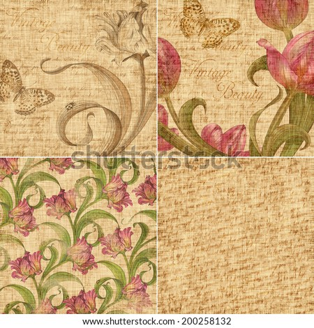 vintage background set, tulip and leaves over aged paper - stock photo