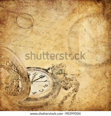 vintage background with a pocket watch - stock photo