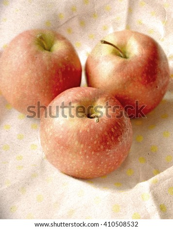 vintage background with apple - stock photo