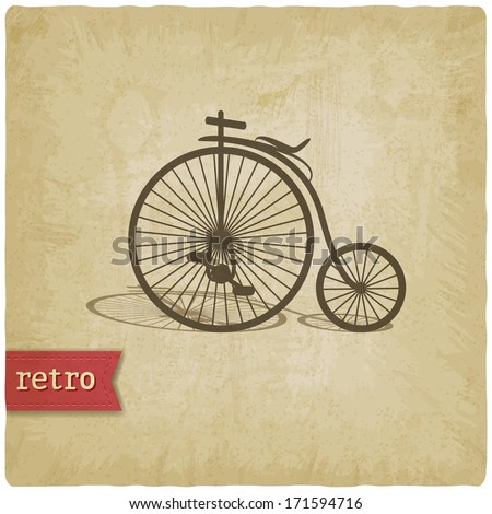 Vintage background with bicycle - raster version - stock photo