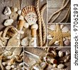 Vintage background with bottles and seashell - stock photo