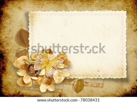 Vintage background with card and paper flowers - stock photo