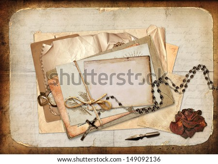 Vintage background with cards, roses and letters - stock photo