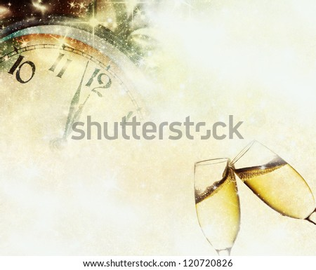 Vintage background with champagne glasses and clock - stock photo