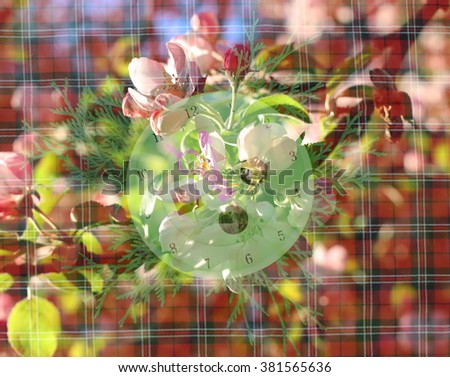Vintage background with clock face. Soft focus. Selective focus. Layer overlay effect. - stock photo