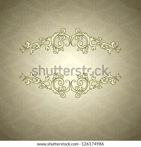 Vintage background with damask pattern in retro style - stock photo