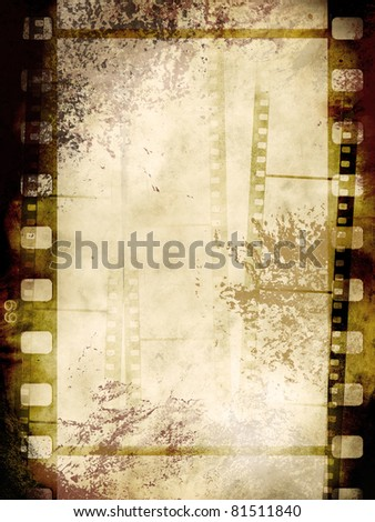 Vintage background with film flame in grunge style - stock photo