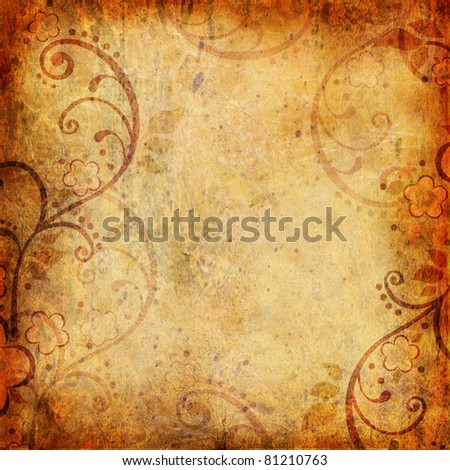 Vintage background with flower and leaf - stock photo
