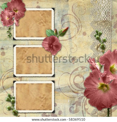 Vintage background with frames and flowers - stock photo