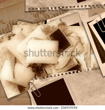 Vintage background with old cards - stock photo